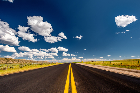 Empty open highway in Wyoming, USA Stock Photo