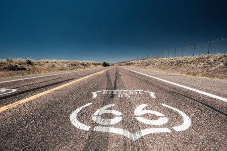 Street sign on historic route 66 in California, USA 스톡 콘텐츠