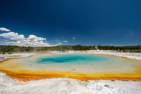 Hot thermal spring Sunset Lake in Yellowstone National Park, Black Sand Basin area, Wyoming, USA