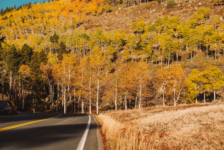 Highway at autumn sunny day in Rocky Mountain National Park. Colorado, USA.