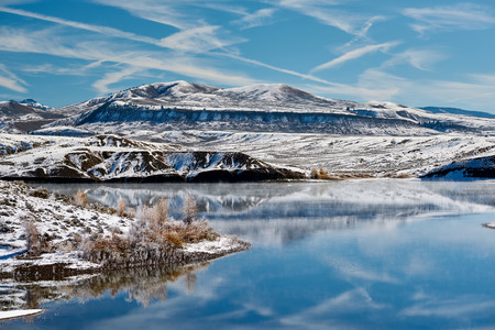 Winter landscape with Wolford Mountain Reservoir in Colorado, USA. Stock Photo