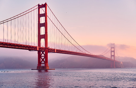 Golden Gate Bridge view from Fort Point at sunrise, San Francisco, California, USA