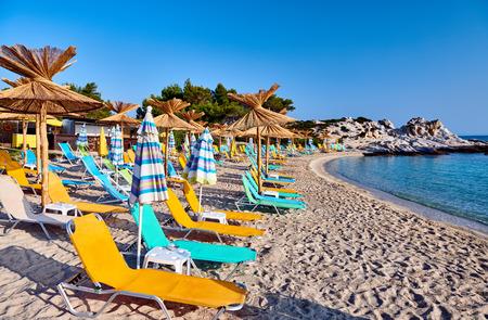 Beautiful Orange beach in Sithonia, Greece Stock Photo