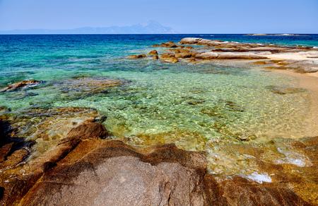 Beautiful beach and rocky coastline landscape, Sithonia, Greece Imagens