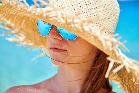 Woman in bikini on beach, Sithonia, Greece Archivio Fotografico