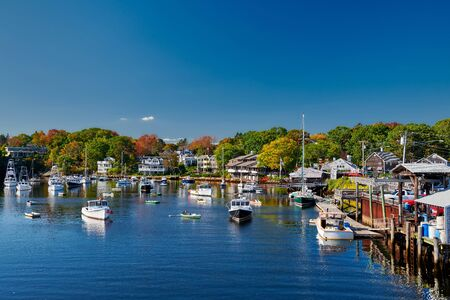 Fishing boats docked in Perkins Cove, Ogunquit, on coast of Maine south of Portland, USA Фото со стока
