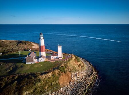 Montauk Lighthouse and beach aerial shot, Long Island, New York, USA. 写真素材