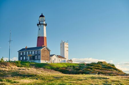 Montauk Lighthouse and beach, Long Island, New York, USA.
