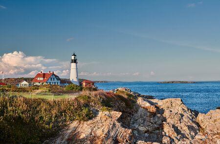 Portland Head Lighthouse at Cape Elizabeth, Maine, USA. Stock Photo