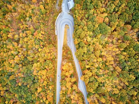 Scenic Mohawk Trail highway hairpin turn in autumn, Massachusetts, USA. Fall in New England. Aerial drone shot. Reklamní fotografie