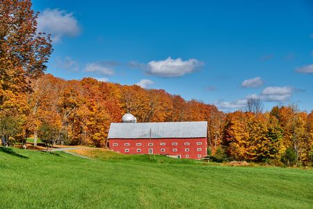 Farm near highway at autumn day in Vermont, USA. Banco de Imagens