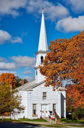 Congregational Church at sunny autumn day in Peacham, Vermont, USA