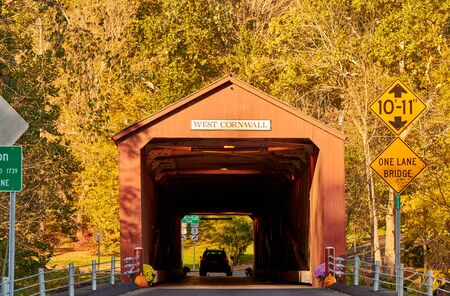 Covered bridge along scenic Route 7 in West Cornwall, Connecticut, USA