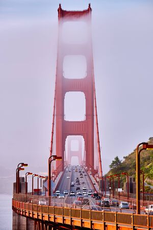 Golden Gate Bridge view at foggy morning, San Francisco, California, USA