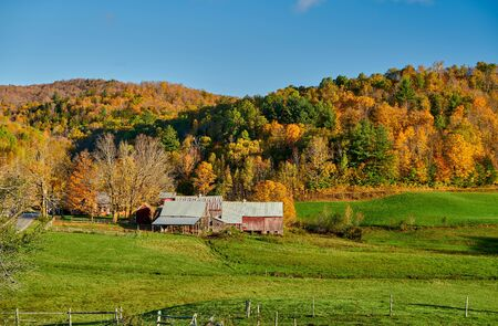 Jenne Farm with barn at sunny autumn day in Vermont, USA