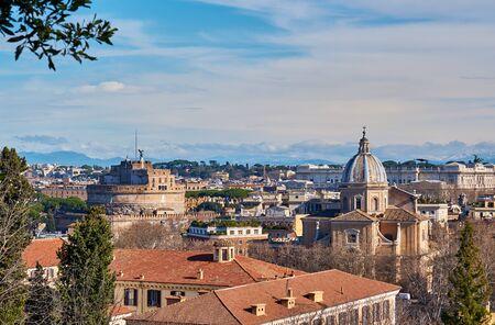 Rome skyline view from Janiculum Terrace (Terrazza del Gianicolo) in Italy