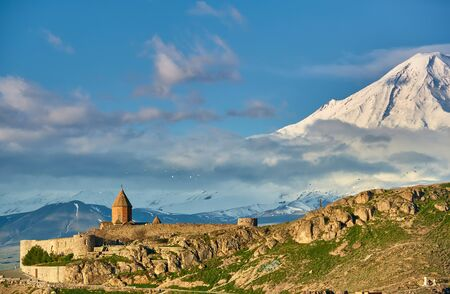 Ancient castle monastery Khor Virap in Armenia with Ararat mountain landscape at background. It was founded in years 642-1662.