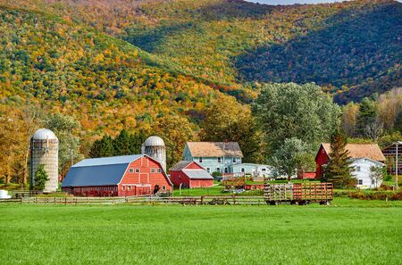 Farm with red barn and silos at sunny autumn day in West Arlington, Vermont, USA Zdjęcie Seryjne - 128906575
