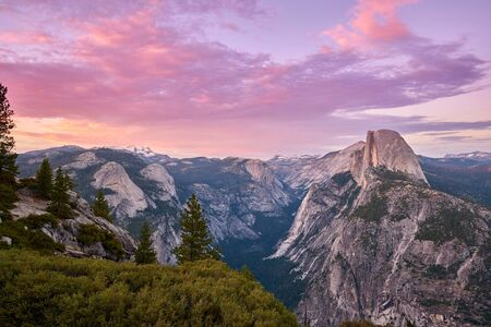 Yosemite National Park Valley summer sunset landscape view from Glacier Point. California, USA.