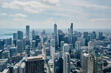 Chicago city skyline aerial view, Illinois, USA