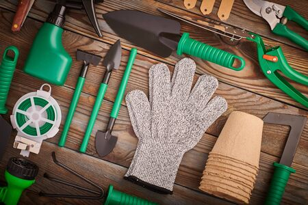 Gardening tools on wooden background flat lay top view