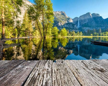 Merced River and Yosemite Falls landscape in Yosemite National Park. California, USA.