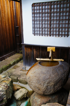 bamboo fountain: Traditional Japanese home style with bamboo fountain