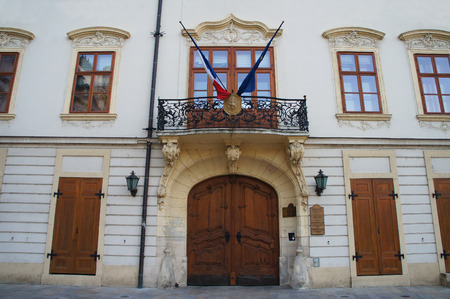 friezes: Building in the old town of Bratislava, Slovakia Editorial