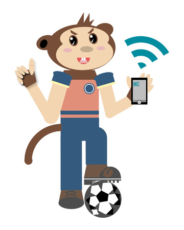 boy at phone: Monkey boy with mobile phone Stock Photo