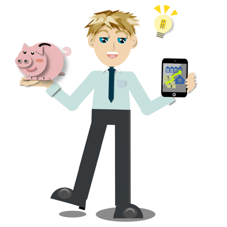 real estate investment: Young businessman holding tablet pc and piggy bank for real estate investment