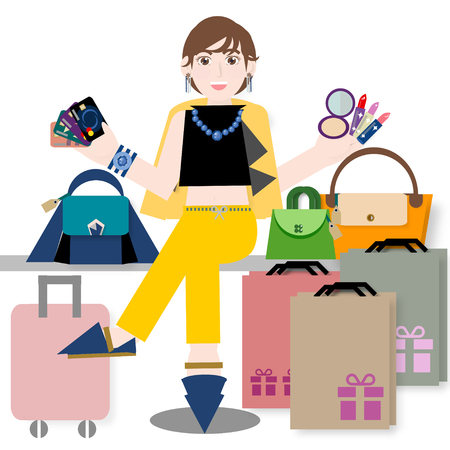 credit card business woman: Young woman with credit card and shopping bags, handbags, cosmetics, luggage Stock Photo