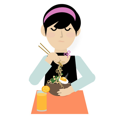 A young woman eating noodle soup with chopsticks and orange juice on white  background, illustration