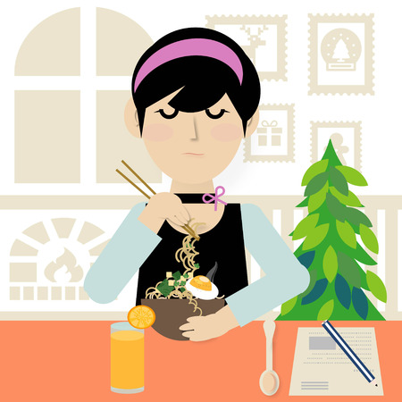 chop sticks: A young woman eating noodle soup with chopsticks and orange juice in the restaurant, illustration
