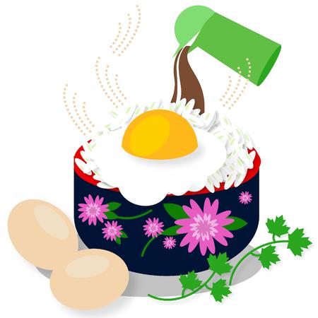 fried egg: Rice bowl with fried egg on white background- Illustration Stock Photo