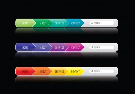 colorized wbsite menu template