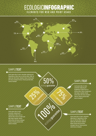 ecologic: Green based ecologic infographic element for the web and print usage Illustration