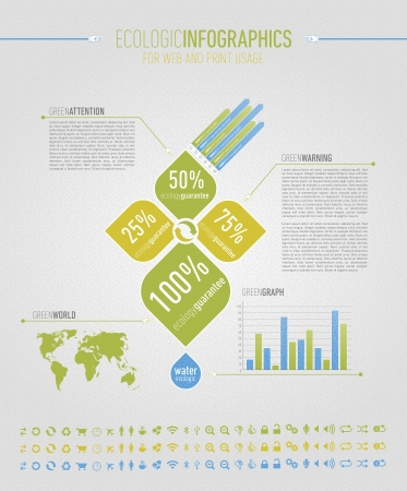 Ecologic infographic elements for web and print usage Illustration