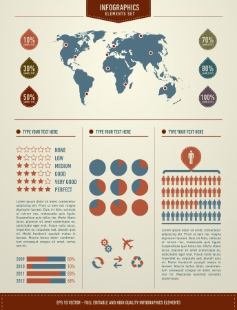 achieving: Set elements of infographics  World Map and Information Graphics