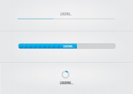 progress bar: Blue loading bars and spiner with  Loading     text