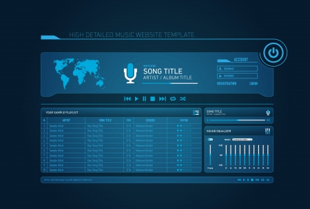 Neon music website template with login and worldmap Vector