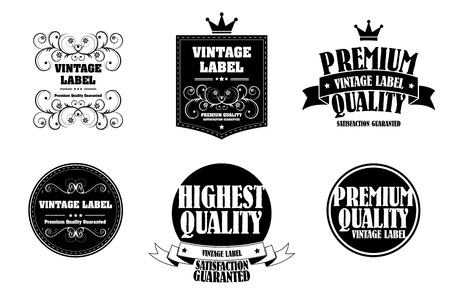 monocrome: old style monocrome vintage sticker Illustration