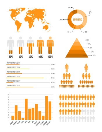 orange infographic elements for the web and print