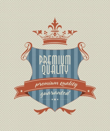 vintage styled shield label with premium guality inscription Vector