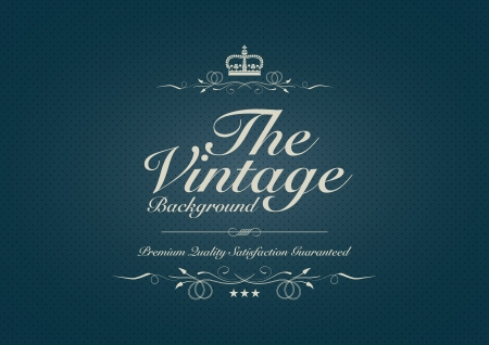 Blue dotted vintage background with ornament Vector