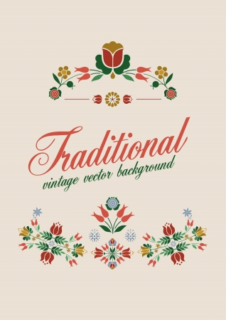 Floral Decoration Elements Stylized Traditional Flowers vector retro style