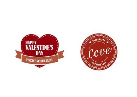 valentines day retro stickers Illustration
