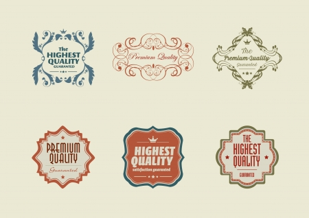 Vintage styled retro stickers with ornaments Vector