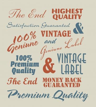 vintage label inscriptions Illustration