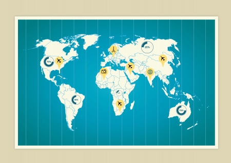 World map with indicators Illustration