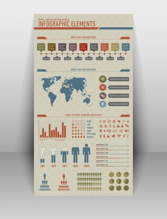Useful, high detailed and vintage styled infographic elements Illustration